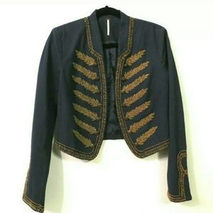 Free People military jacket Blue gold beads